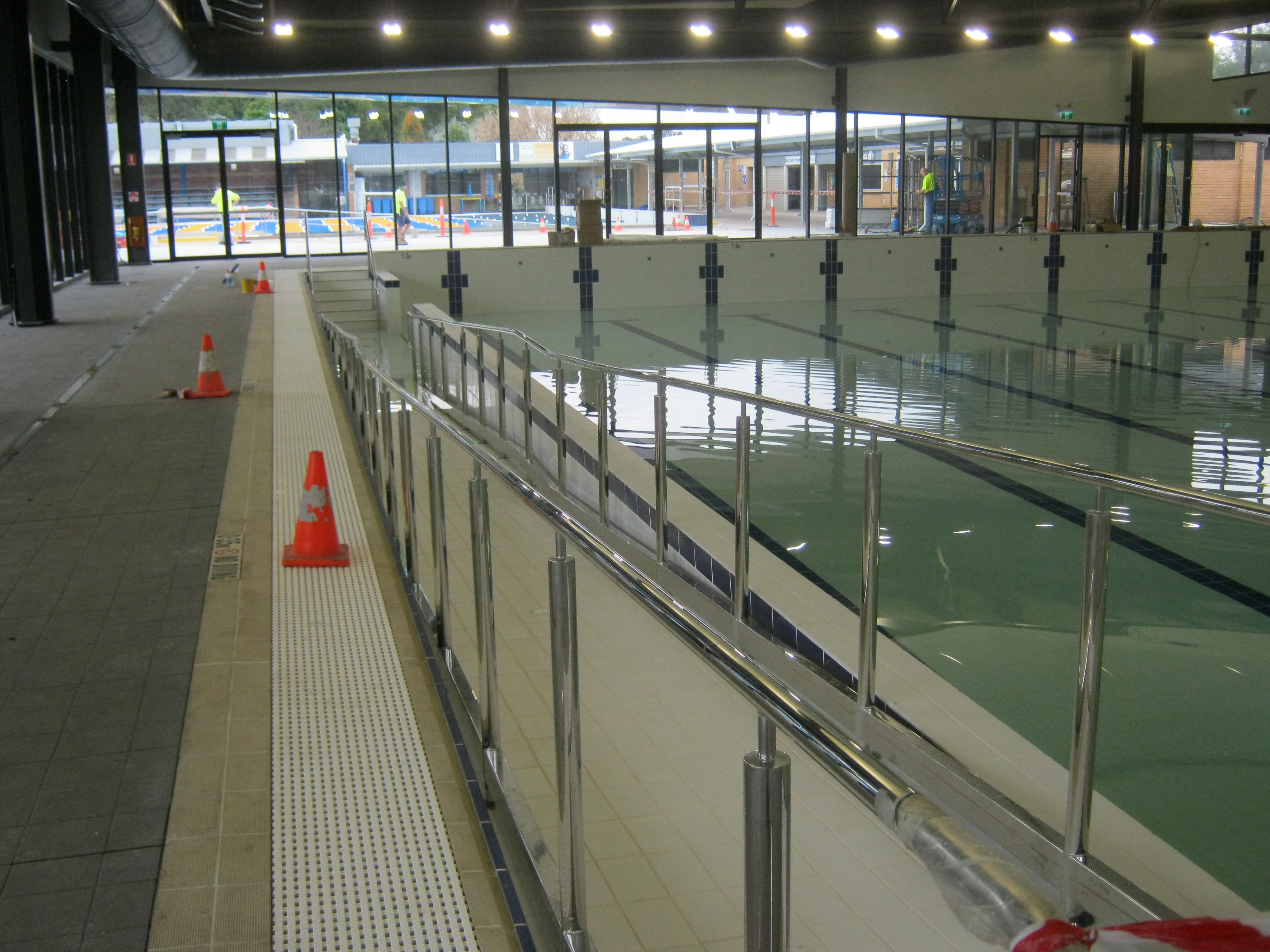 Maitland Heated Pool Ramp Access ss grabrails